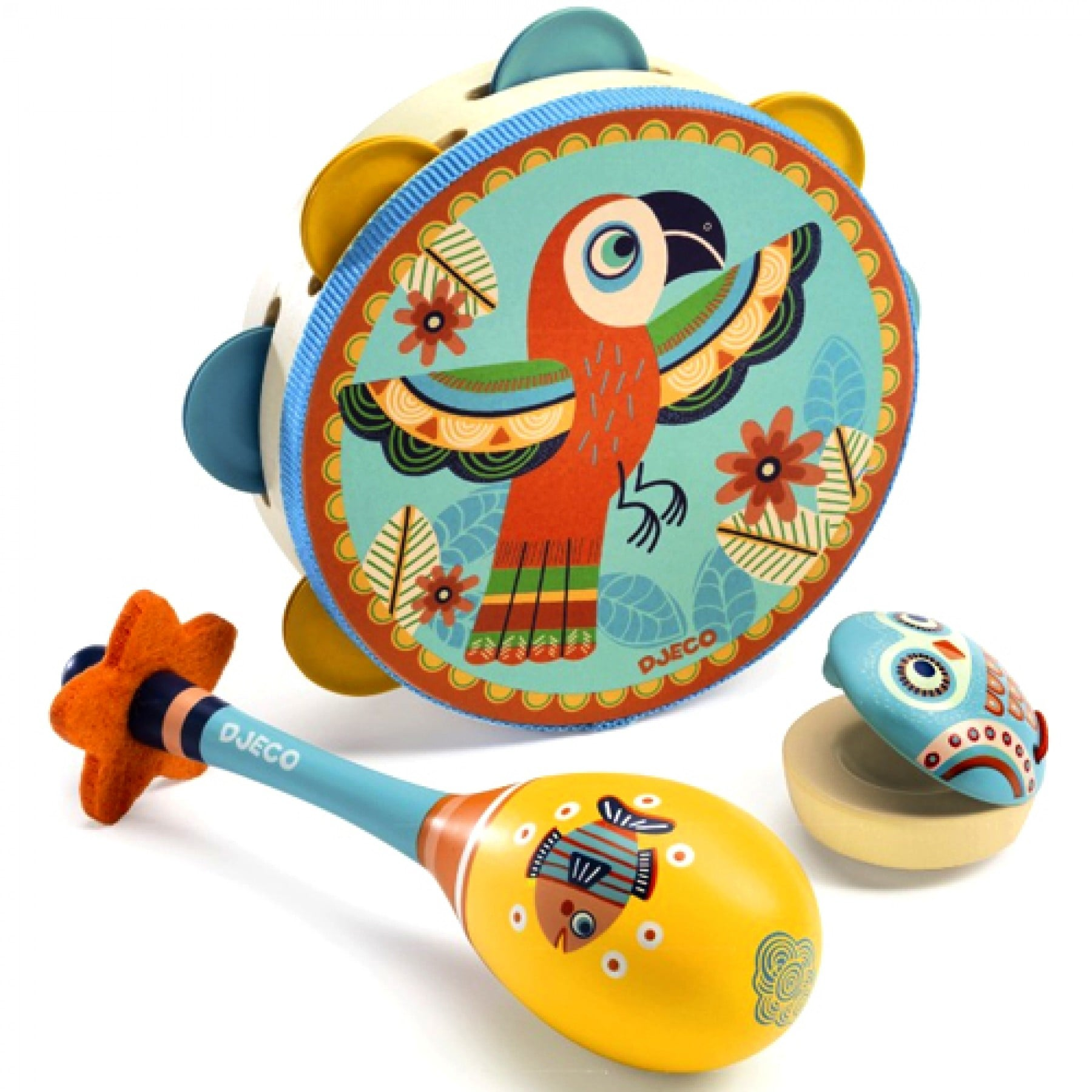 the joy of new djeco whirligig toys time to get musical with this charming first instrument set containing a tambourine maracas and castanets all presented in a beautiful box