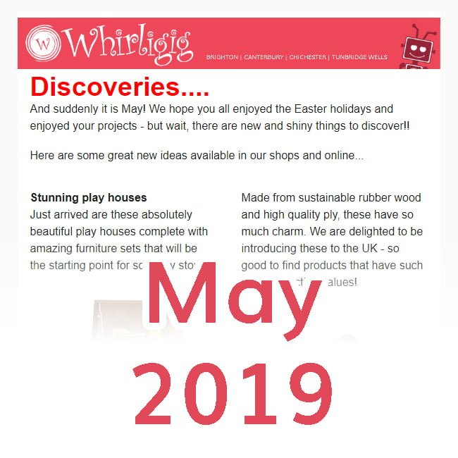 Whirligig Toys - Newsletter icon May 2019